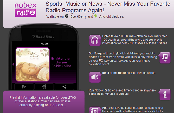 Descargar Nobex Radio para BlackBerry