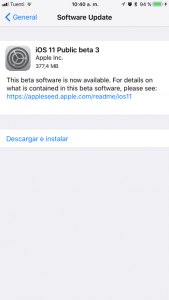 Disponible la tercera beta de iOS 11